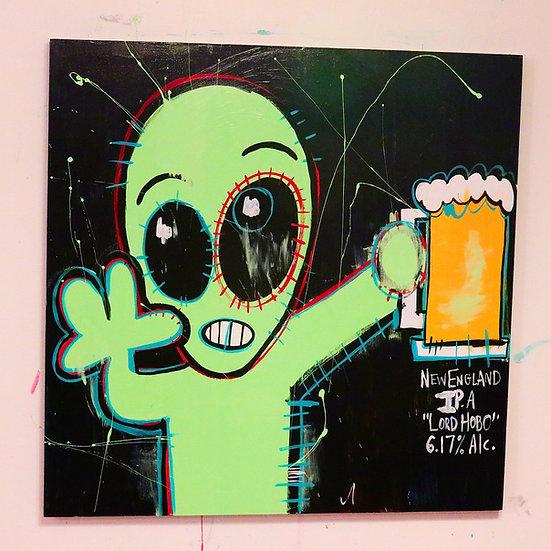 Alien drinking a beer