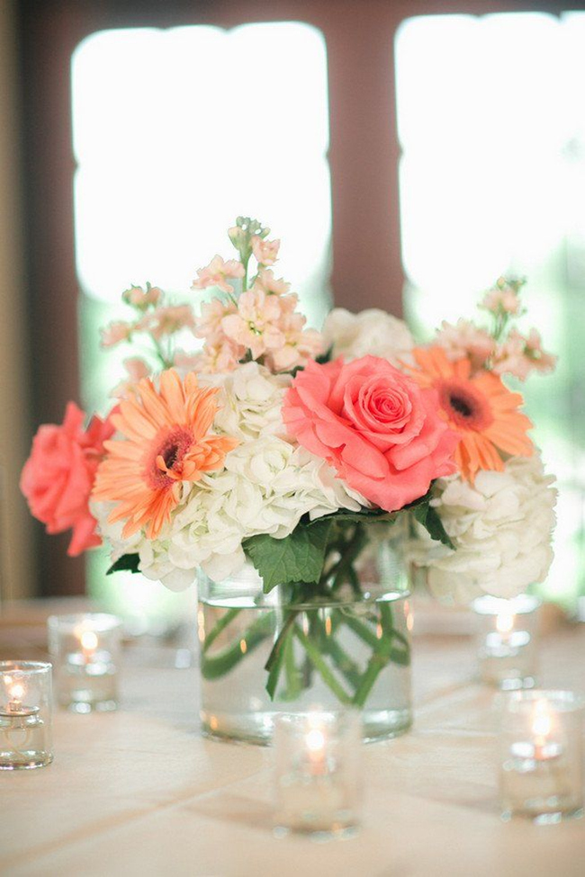 simply-elegant-coral-wedding-centerpieces-with-hydrangea-and-roses