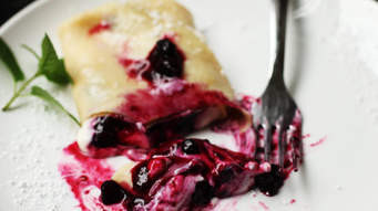 Blueberries & Cottage Cheese Crepes