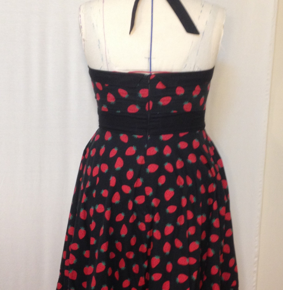 STRAWBERRY HALTER DRESS BACK