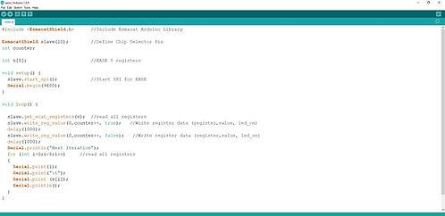 Screenshot of EtherCAT Arduino Shield by Esmacat (EASE) Arduino IDE code