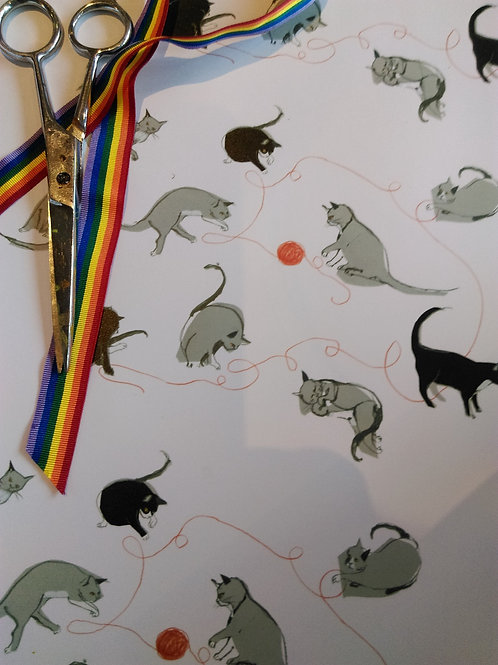 A Clutter of Cats gift wrap