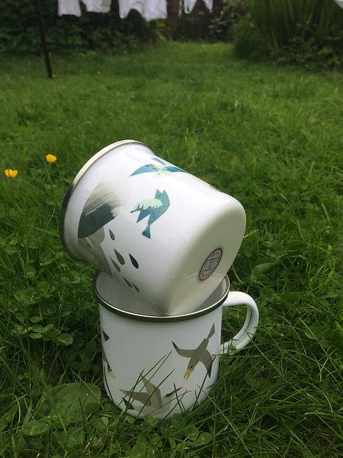 Come Rain or Shine enamel mug
