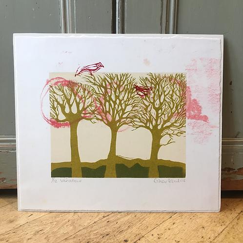Three Trees linocut