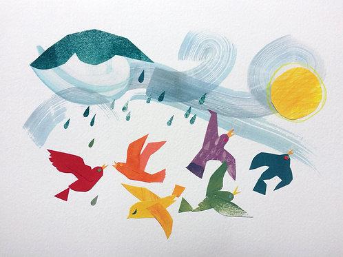 Rainbow Flock print