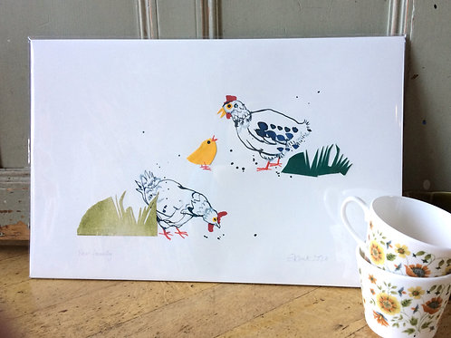 'Hen Family' original artwork