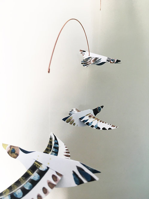 Golden geese hand-painted paper bird mobile