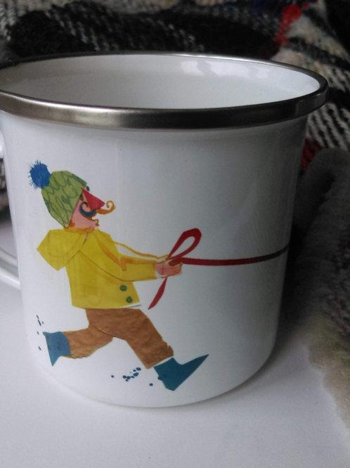 Dog Walk enamel mug