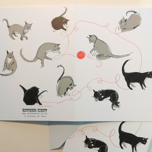 A Clutter of Cats card