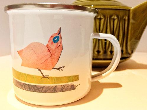 Bird Family enamel mug