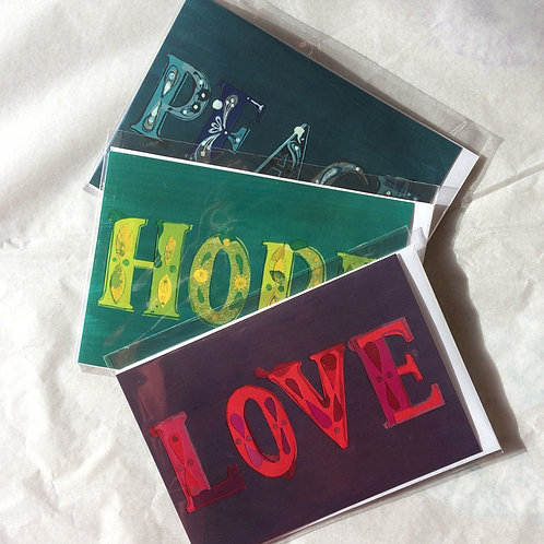 LOVE, HOPE, PEACE set of cards