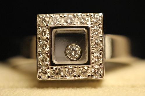 Chopard Square Happy Diamond 18ct White Gold Ring