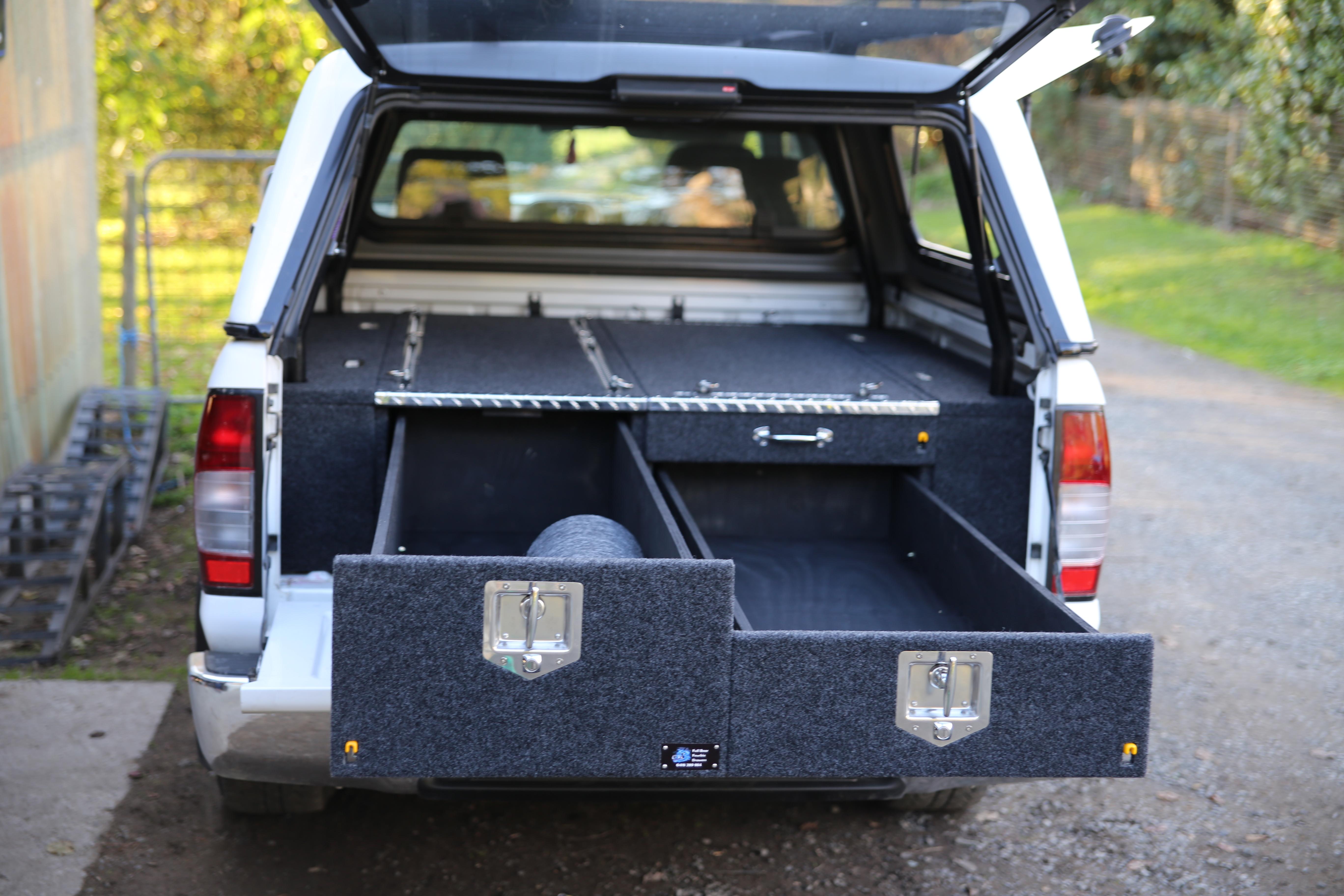 Dual cab 2 drawer with fridge slide