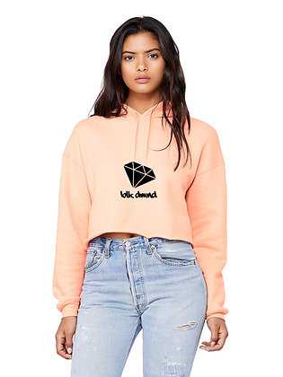 Women's Peach Cropped Fleece Hoodie w/ Black Glitter BLK DMND Logo