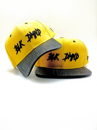 Mustard Yellow Suede w/ Black Snakeskin Curve & Flat Brim Strapback Combo