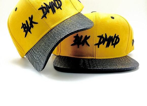 Mustard Yellow Suede w/ Black Snakeskin Curve & Flat Brim Strapback Combo