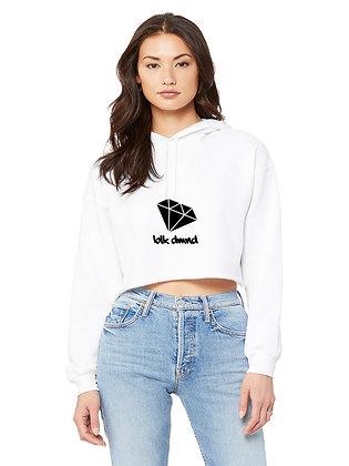 Women's White Cropped Fleece Hoodie w/ Black Glitter BLK DMND Logo
