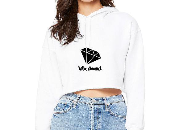 Women's White Cropped Fleece Hoodie