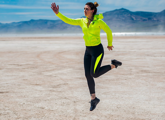 Women's Fly Boy Lime Green & Black Zip Up Athletic Set