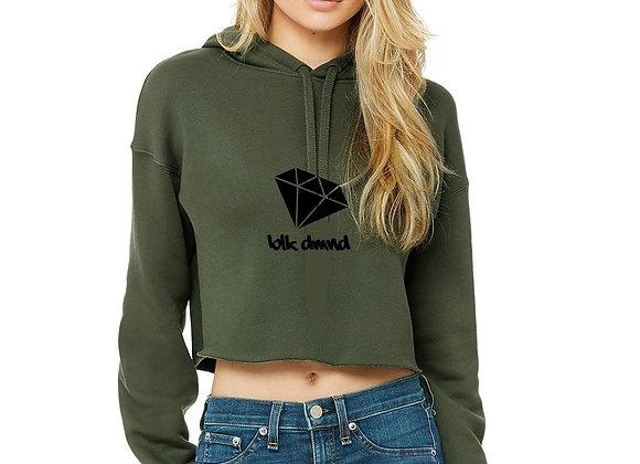 Women's Military Green Cropped Fleece Hoodie