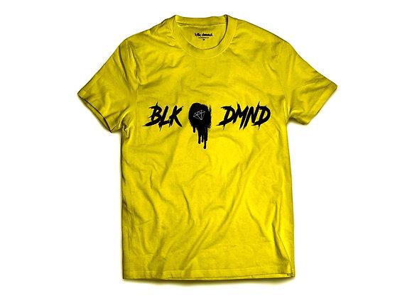 Unisex Mustard Yellow Triblend Crewneck T-shirt w/ Black Print