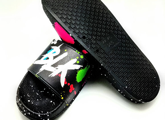 Unisex Black Paint Splatter Masterpiece BLK DMND Slides