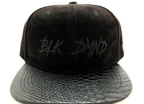 Triple Black w/ Black Snakeskin Flat Brim Strapback