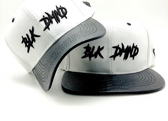 White Suede w/ Black Snakeskin Curve & Flat Brim Strapback Combo