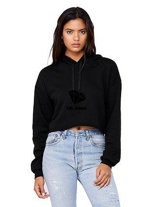 Women's Black Cropped Fleece Hoodie w/ Black Glitter BLK DMND Logo