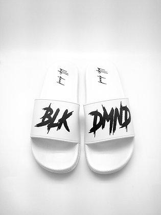 Unisex White Tuxedo Style BLK DMND Slides