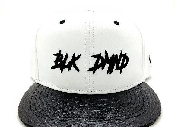 White Suede w/ Black Snakeskin Flat Brim Strapback