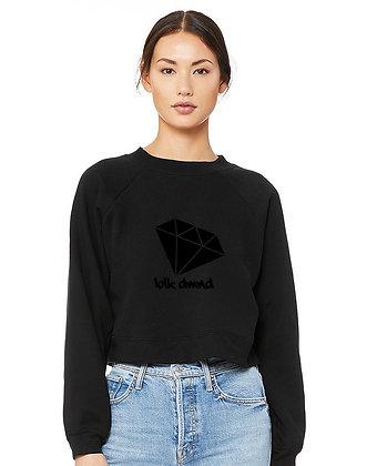 Women's Black Raglan Pullover Fleece