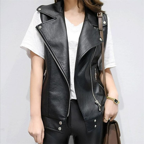 Leather Vests Women Slim Fit Casual Motorcycle Leather