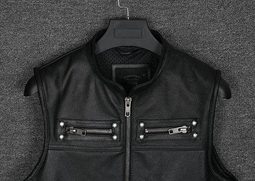 Real Leather Biker Vest Mens