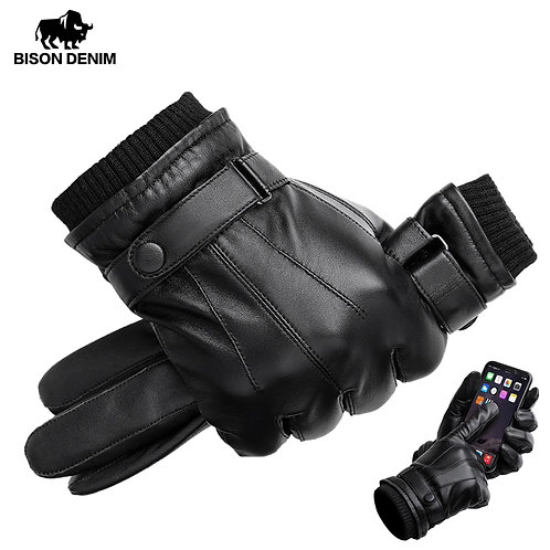 BISON DENIM Men's Genuine Leather Gloves