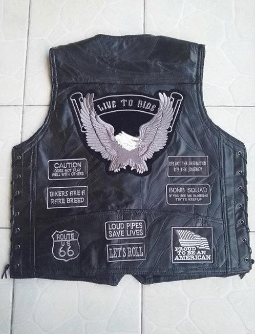 BONJEAN Mens Eagle Patch Black Genuine  Motorcycle Vest Patches