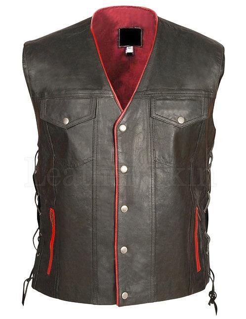 Mens Biker Black Gun Club Leather Vest