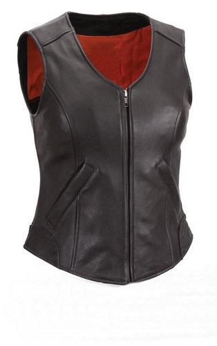 Women Ladies Black Gun Club Leather Vest