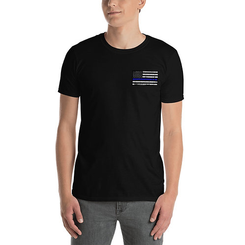 Police Thin Blue Line Flag - Short-Sleeve Unisex T-Shirt