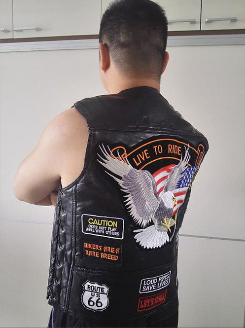 Men's Genuine Leather Motorcycle Vest With 14 Patches