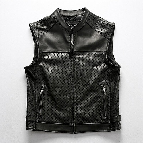 Motorcycle Club Leather Vest Men's Mesh Breathable