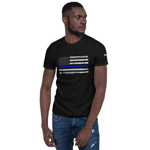 Police Thin Blue Line Flag - Short-Sleeve Unisex T-Shirt