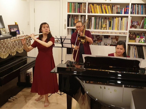 Rachel (Flute), Vincent (Trombone) and Mei (Piano) Ho