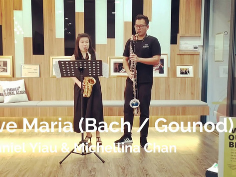 Daniel Yiau (Bass Clarinet) and Michellina Chan (Alto Saxophone)