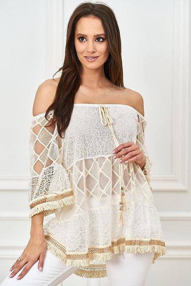 Ażurowa bluzka z tiulowymi wstawkami