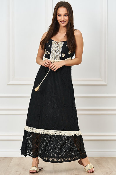 Long lace dress with decorative tape