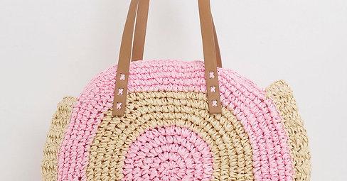 Różowo-beżowa pleciona torba