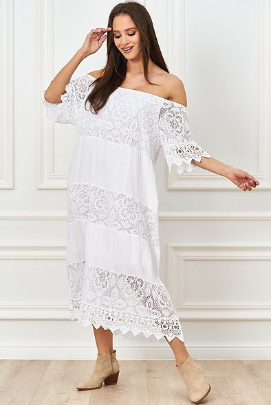 Oversizowa sukienka z koronką