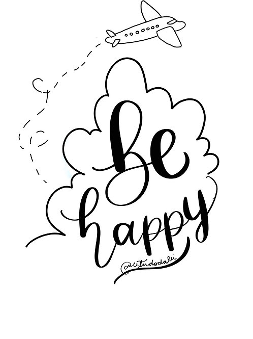"""Lettering - """"be happy"""""""