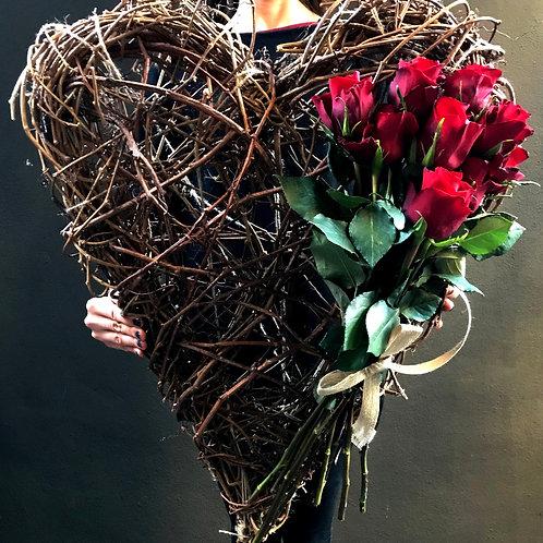 Dev Gerçek Ağaç Kalp Ve Gül Buketi